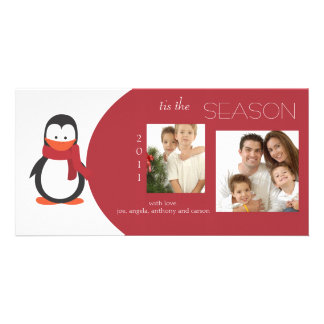 Penguin Red Holiday Photo Card