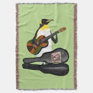 Penguin Reggae Guitar Throw Blanket