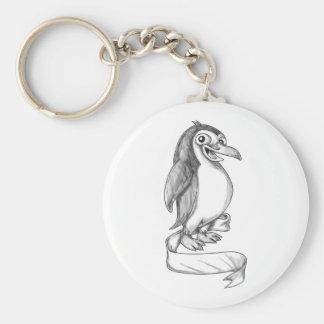 Penguin Ribbon Side Tattoo Key Ring