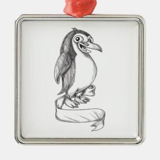 Penguin Ribbon Side Tattoo Metal Ornament