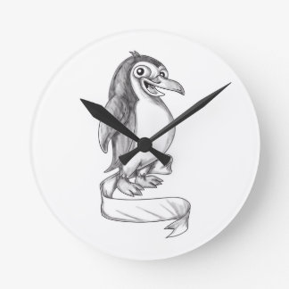Penguin Ribbon Side Tattoo Round Clock