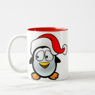 Penguin Santa Claus Two-Tone Coffee Mug