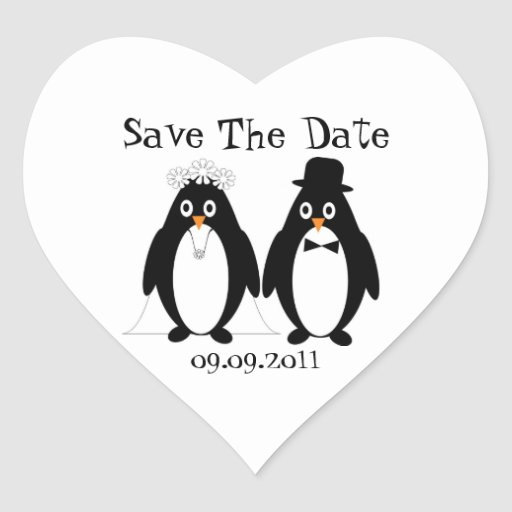 Penguin Save The Date Wedding Announcement Sticker