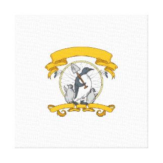 Penguin Shovel Chick Dreamcatcher Drawing Canvas Print