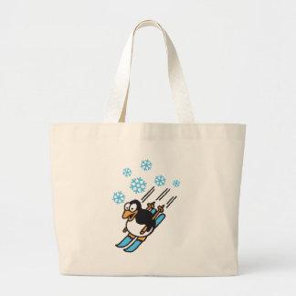 penguin ski jumbo tote bag