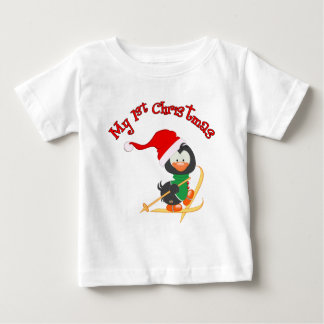 Penguin Skiing 1st Christmas Baby T-Shirt