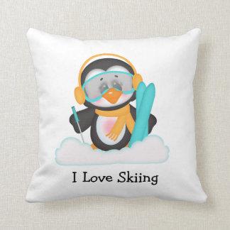 Penguin Skiing Cushion