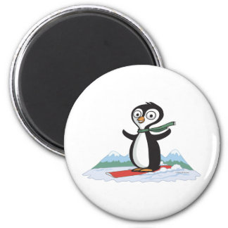 Penguin Snowboarder Magnet