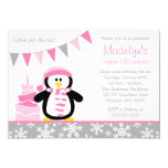 Penguin Snowflakes Pink Winter Onederland Birthday Personalized Announcements