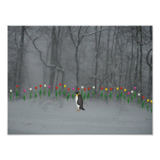 Penguin Spring Walk Poster