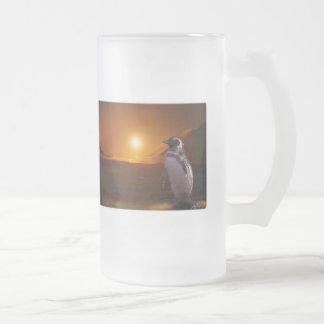 PENGUIN SUNSET FROSTED GLASS BEER MUG