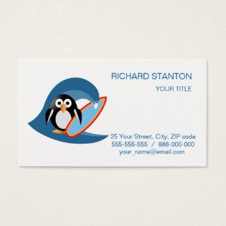 Penguin surfer business card
