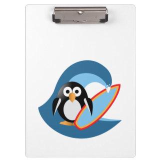 Penguin surfer clipboard