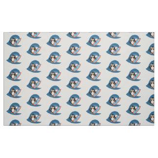 Penguin surfer fabric