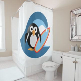 Penguin surfer shower curtain