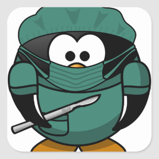 Penguin Surgeon Square Sticker