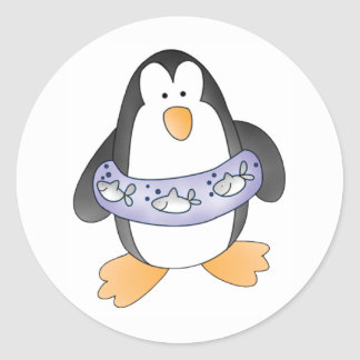 Penguin Swim Classic Round Sticker