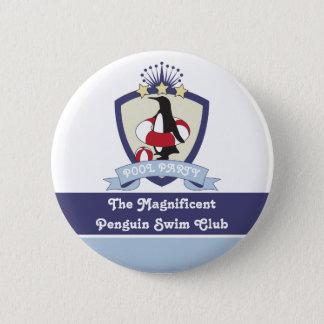 Penguin Swim Club Kids Birthday Pool Party Favor 6 Cm Round Badge