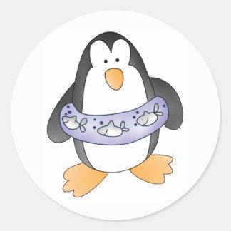 Penguin Swim Round Sticker