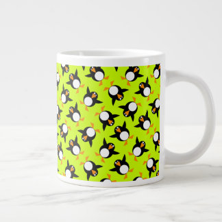 Penguin Time: Super Happy Awesome Penguins Graphic Large Coffee Mug