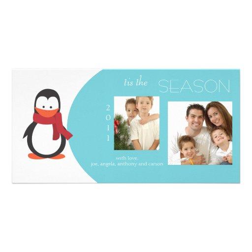Penguin Turquoise Holiday Photo Card