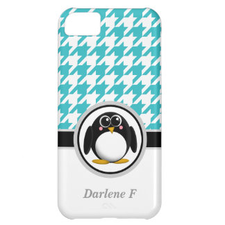 Penguin Turquoise White Houndstooth iPhone 5 Case