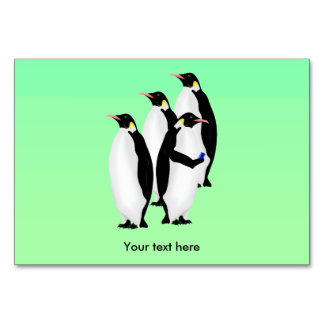 Penguin Using A Mobile Phone Table Cards