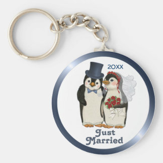 Penguin Wedding Bride and Groom Tie - Customize Basic Round Button Key Ring