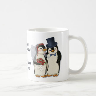 Penguin Wedding Bride and Groom Tie - Customize Mug