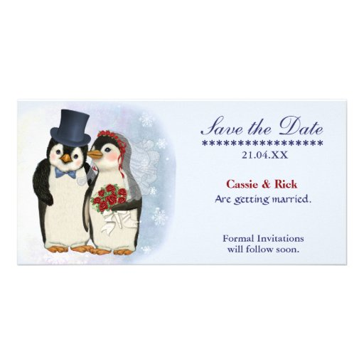 Penguin Wedding Custom Photo Card