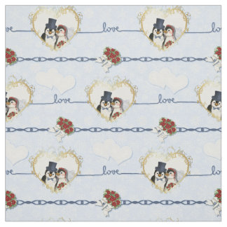 Penguin Wedding Hearts On Blue Fabric