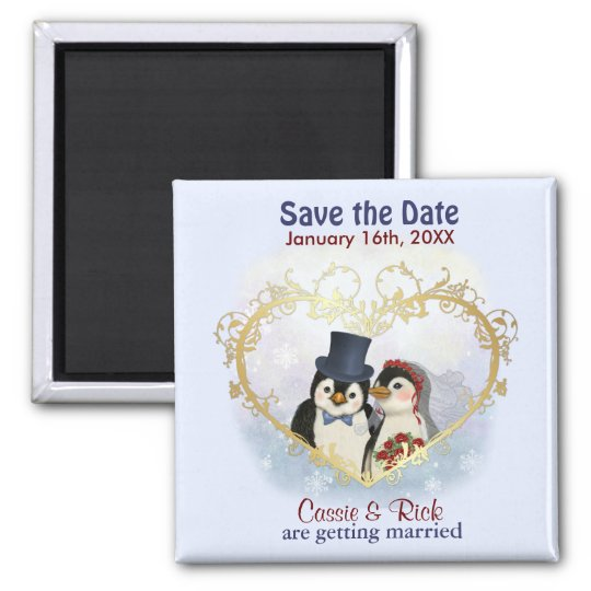 Penguin Wedding Save the Date Magnet