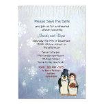 Penguin Wedding Snowflakes Rehearsal Dinner Invite