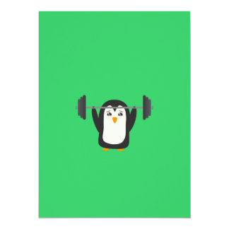 Penguin Weightlifting 14 Cm X 19 Cm Invitation Card