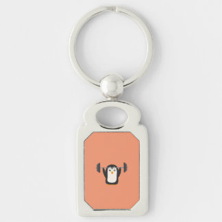 Penguin Weightlifting Silver-Colored Rectangle Key Ring
