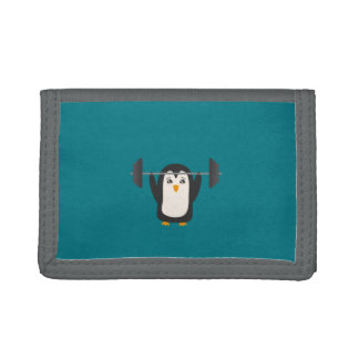Penguin Weightlifting Tri-fold Wallet