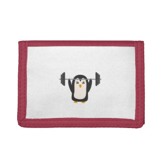 Penguin Weightlifting Tri-fold Wallets