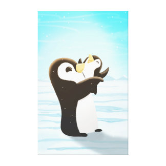 Penguin Winter Snow Art First Snow Extra Large Stretched Canvas Print