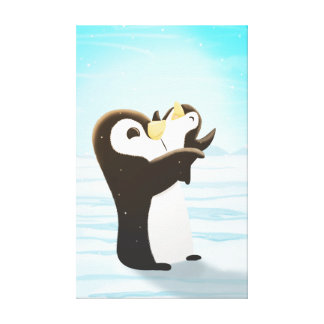 Penguin Winter Snow Art First Snow Medium Stretched Canvas Print