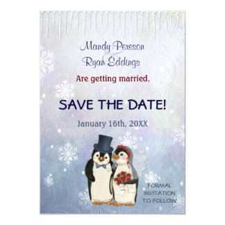 Penguin Winter Snowflakes Wedding Save The Date Magnetic Card