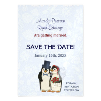 Penguin Winter Wedding Magnetic Save The Date Magnetic Card