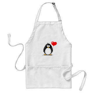 Penguin with a heart balloon aprons