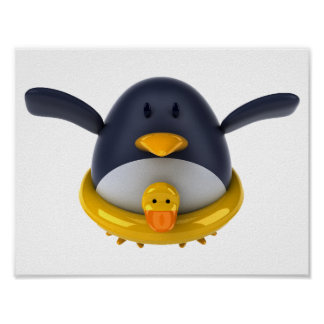 Penguin With A Rubber Duck Poster