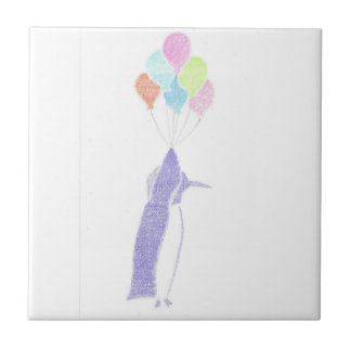 Penguin With Balloons Ceramic Tile