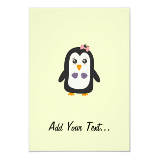 Penguin with bikini 9 cm x 13 cm invitation card