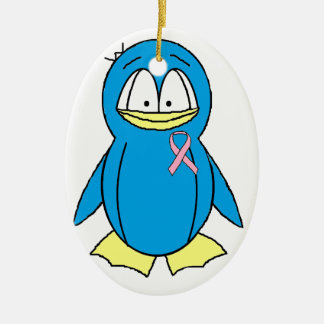 Penguin with Breast Cancer Awareness Pink Ribbon Ceramic Ornament