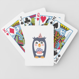 Penguin With Party Attributes Girly Stylized Funky Bicycle Playing Cards