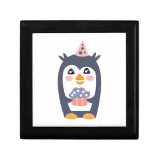 Penguin With Party Attributes Girly Stylized Funky Gift Box