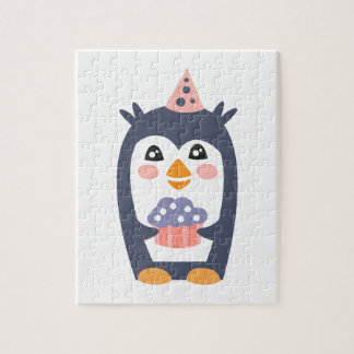 Penguin With Party Attributes Girly Stylized Funky Jigsaw Puzzle