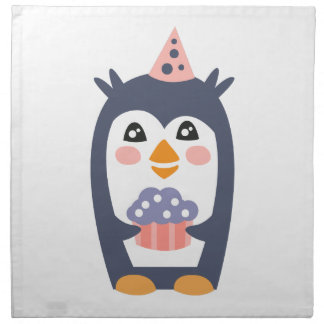 Penguin With Party Attributes Girly Stylized Funky Napkin